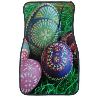 Ornate Painted Easter Eggs Car Mat
