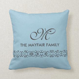 Ornate Pale Blue Gray Family Monogram Design Throw Pillow
