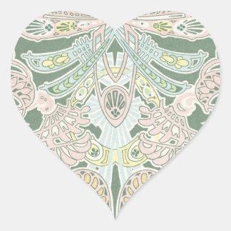 ornate pastel art nouveau pattern art heart sticker