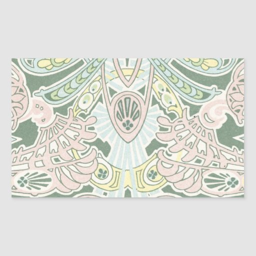 ornate pastel art nouveau pattern art rectangular sticker