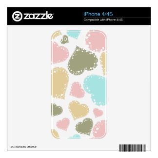 Ornate Pastel Hearts Design Skin For The iPhone 4S
