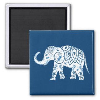 Ornate Patterned Blue Elephant 2 Inch Square Magnet