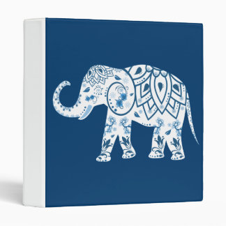 Ornate Patterned Blue Elephant 3 Ring Binder