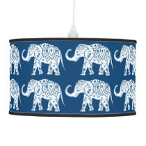 Ornate Patterned Blue Elephant Ceiling Lamp
