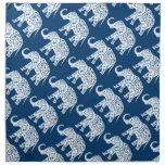 Ornate Patterned Blue Elephant Cloth Napkin