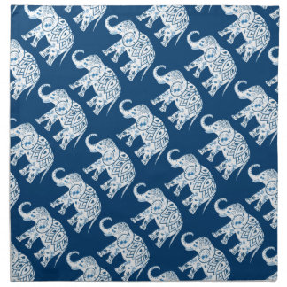 Ornate Patterned Blue Elephant Cloth Napkin