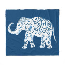 Ornate Patterned Blue Elephant Fleece Blanket