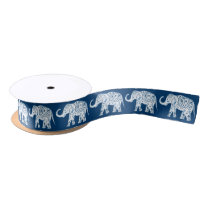 Ornate Patterned Blue Elephant Satin Ribbon