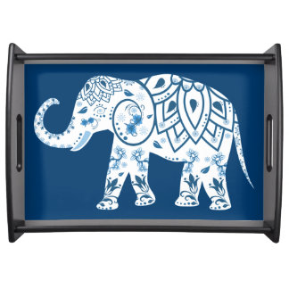Ornate Patterned Blue Elephant Serving Tray