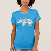 Ornate Patterned Blue Elephant T-Shirt
