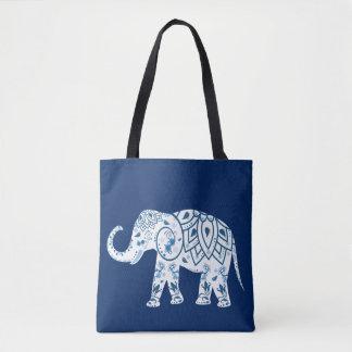 Ornate Patterned Blue Elephant Tote Bag