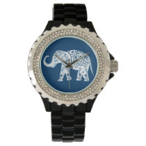 Ornate Patterned Blue Elephant Wristwatch