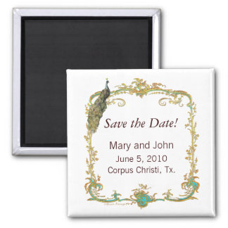 Ornate Peacock Save the Date Magnet