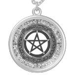 Ornate Pentacle Round Pendant Necklace
