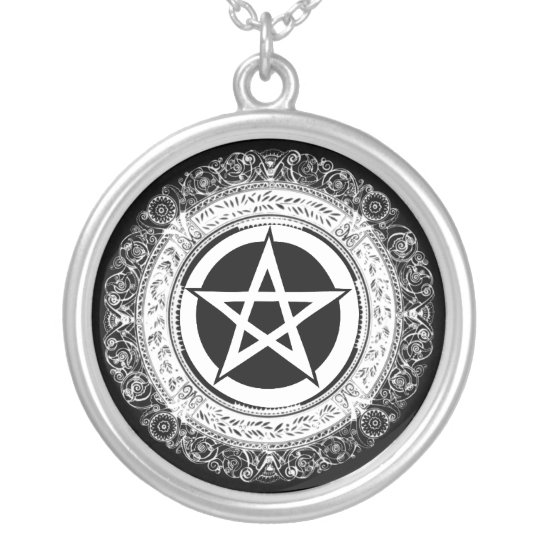 Ornate Pentacle Silver Plated Necklace