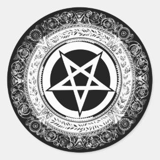 Ornate Pentagram Classic Round Sticker