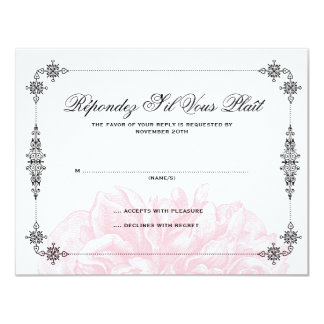 Ornate Peony Wedding RSVP Card