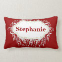 Ornate Personalized Dark Red Name Pillows