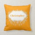 Ornate Personalized Orange Sherbert Name Throw Pillows