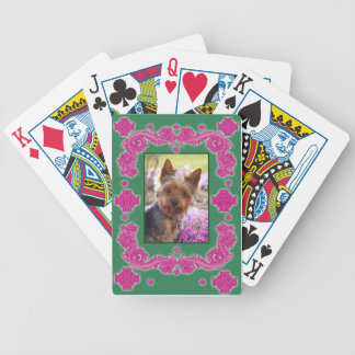 Ornate Pink and Green Swirls Photo Playing Cards