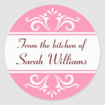 Ornate pink and white from the kitchen of labels round stickers