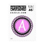 Ornate Pink Monogram Letter A Stamp