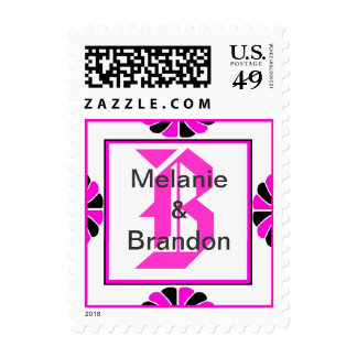 Ornate Pink Monogram Letter B Stamp