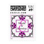 Ornate Pink Monogram Letter E Stamp