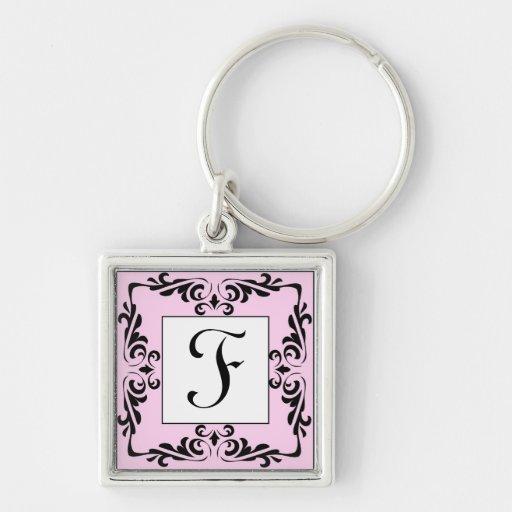Ornate Pink Monogram Letter F Keychain