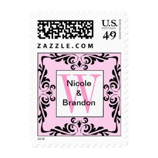 Ornate Pink Monogram Letter W Stamp