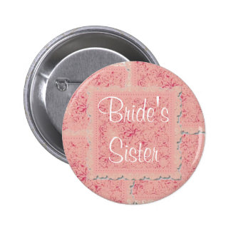 Ornate pink patchwork Bride's Sister Button