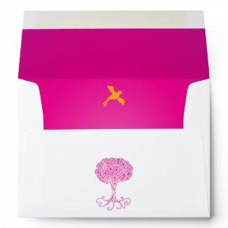 Ornate Pink Tree of Life Bat Mitzvah Envelope