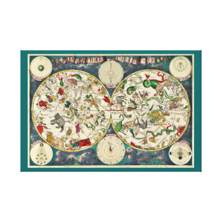 Ornate planisphere, star moon chart map, planets canvas print
