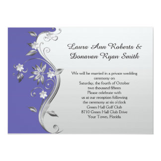Ornate Purple and Silver Floral Reception Only Card