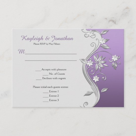 Ornate Purple and Silver Flowers Swirls Menu RSVP Invitation