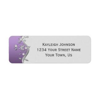 Ornate Purple and Silver Flowers Swirls Return Address Label