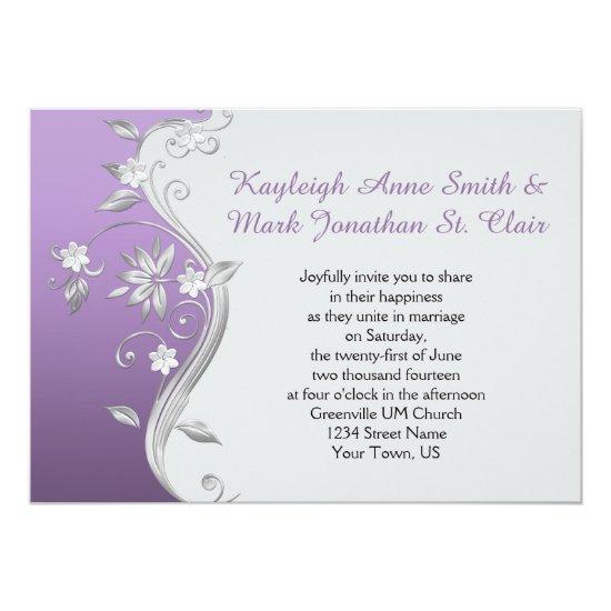 Ornate Purple and Silver Flowers Swirls Wedding Invitation