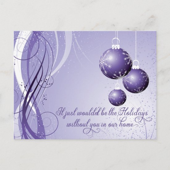 Ornate Purple and White Christmas Holiday Party Postcard