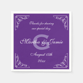 Ornate purple and white monogram wedding napkins