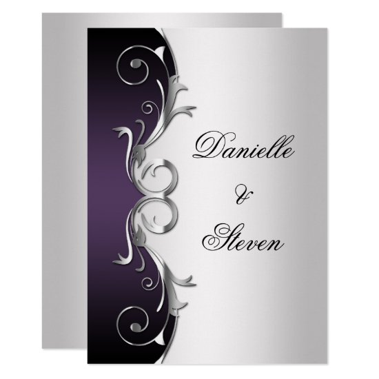 Ornate Purple Black Silver Post Wedding Celebratio Invitation
