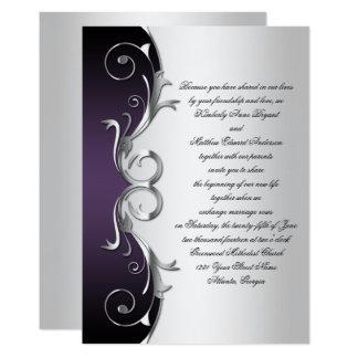 purple and silver wedding invitations & announcements | zazzle, Wedding invitations