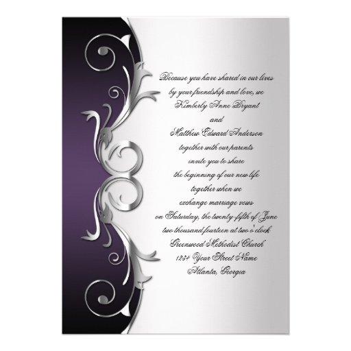 Ornate Purple Black Silver Wedding Celebration 5x7 Paper Invitation Card