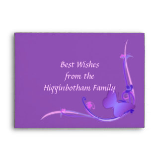 Ornate Purple Butterfly greeting card envelope