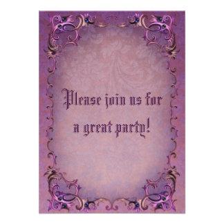Ornate Purple Floral Invitation