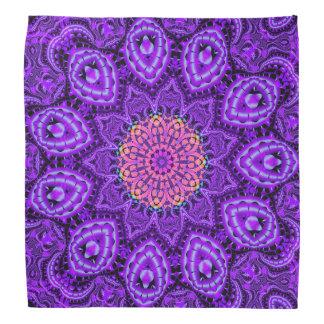 Ornate Purple Flower Vibrations Kaleidoscope Art Bandana