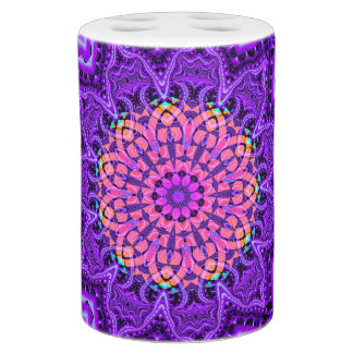 Ornate Purple Flower Vibrations Kaleidoscope Art Bath Set