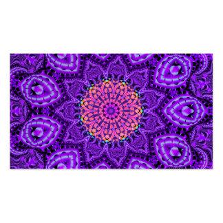 Ornate Purple Flower Vibrations Kaleidoscope Art Business Card