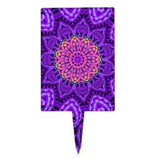 Ornate Purple Flower Vibrations Kaleidoscope Art Cake Topper