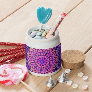 Ornate Purple Flower Vibrations Kaleidoscope Art Candy Dishes