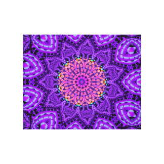 Ornate Purple Flower Vibrations Kaleidoscope Art Canvas Print